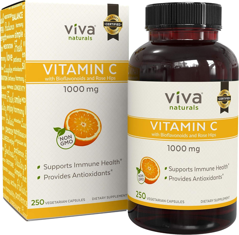 Viva Naturals Premium Non-GMO Vitamin C with Bioflavonoids Rose Hips, 1000 mg, 250 Veg Caps