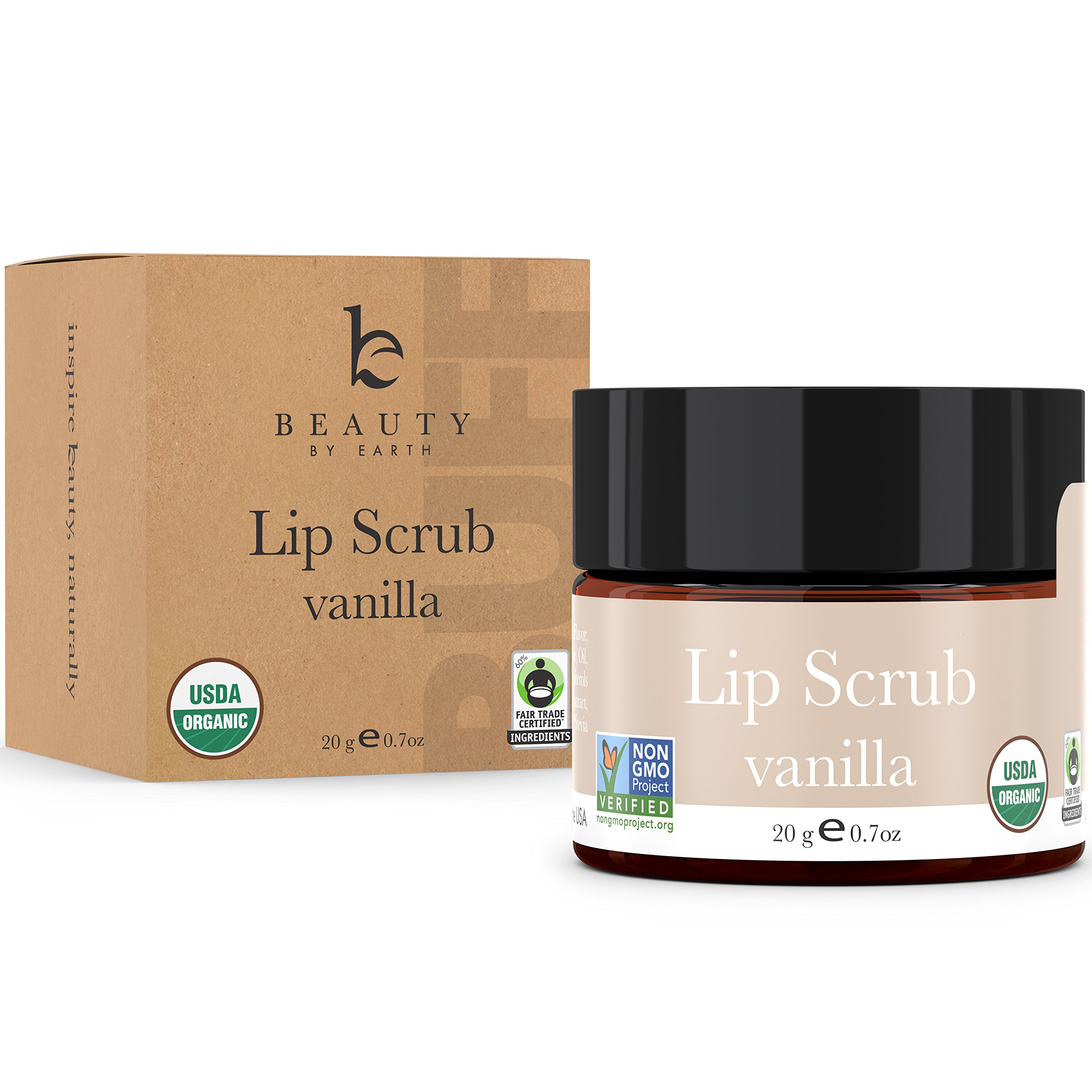 Lip Scrub, Vanilla Flavor - Organic Exfoliating Sugar Scrub, Exfoliator for Chapped Dry Lips, Moisturizes With Fresh Lush Natural Ingredients, Best Before Balm for Men and Women (1 pack)