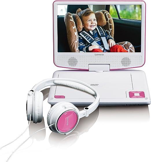 Lenco Tragbarer Dvd Player Dvp 910 9 Zoll 22 5 Cm Mit Drehbarem Display Und Integriertem Akku Usb Av Ausgang Netzadapter Kopfhörer Pink Heimkino Tv Video