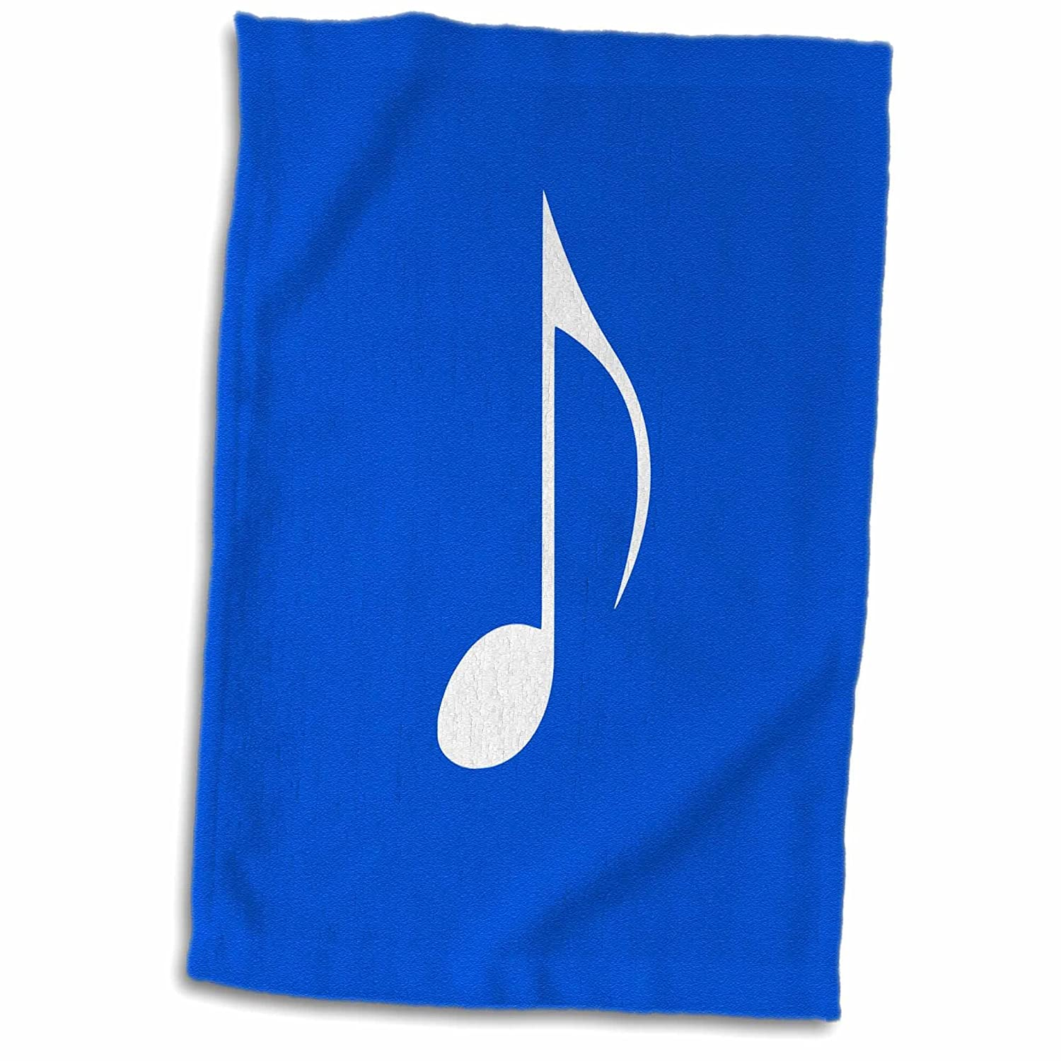 3D Rose Dark Blue Eighth Note-One Single White Musical Quaver Hand Towel 15 x 22 Multicolor