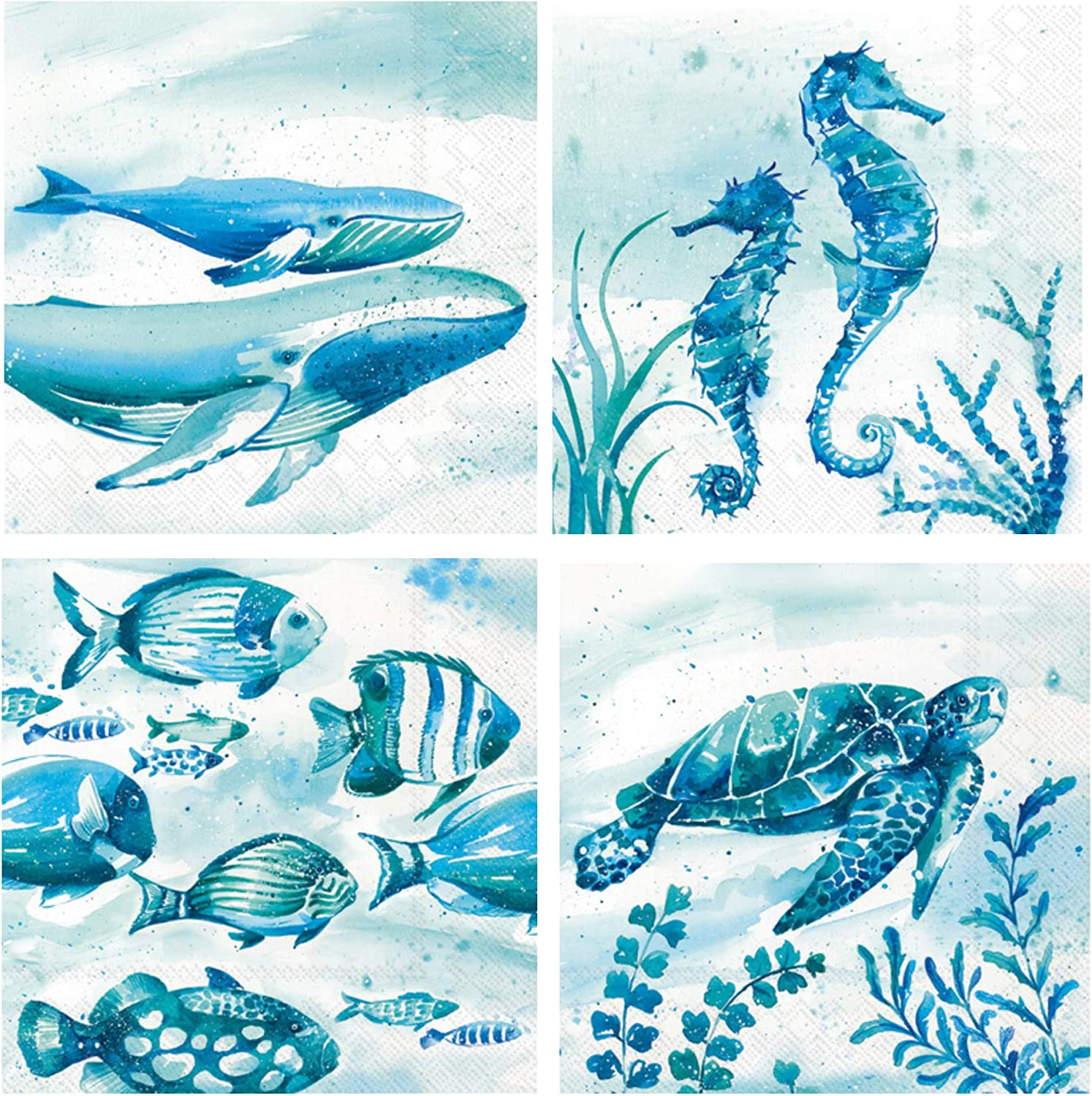 Sea Life Cocktail Napkins Variety Pack | Bundle Includes 80 Total Paper Beverage Napkins | 4 Aquaworld Designs | Whale, WaterTurtle, Fish, Sea Horse