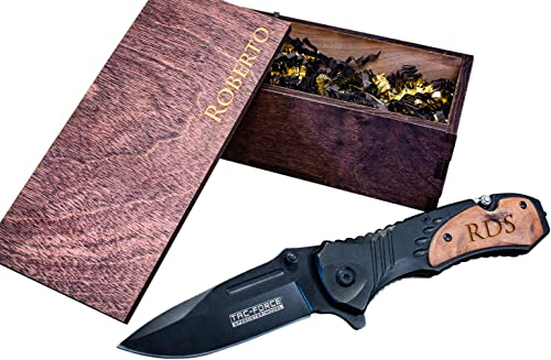 Engraved Camping Knife Wood Box Groomsmen Gift Custom Pocket Knives Wooden Boxes- Husband Hunting Man Mens Boyfriend Wedding Gifts Folding Blade Rustic Spring Assist Open