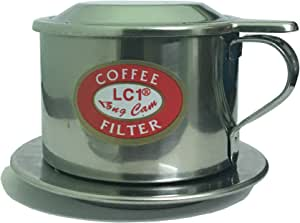Vietnamese Coffee Filter Set, Pour Over Dripper Style, Slow Drip Cafe Maker, Brew A Single Cup Serving Of Iced Ca Phe Sua Da, Made In Vietnam, Stainless Steel Infuser Press, Phin (1, 6Q)