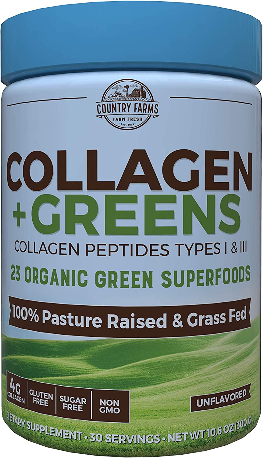 Country Farms Collagen + Greens Dietary Supplement, Energizing Superfoods, 10.6 oz, 30 Servings