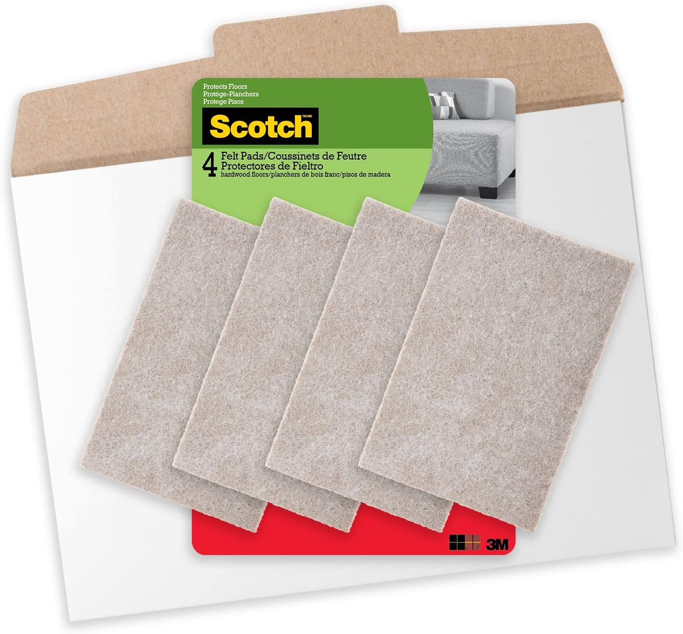 Scotch 4 x 6 inch Felt Pads in Easy to Open Packaging, 4 Pads, Beige