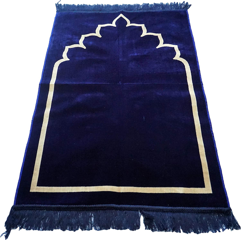 le bureau hajj Umrah Masjid Janamaz 110 x 70 cm d/écor/é avec motif mihrab islamique oriental Tapis de pri/ère traditionnel en daim /épais et doux id/éal pour la maison voyage