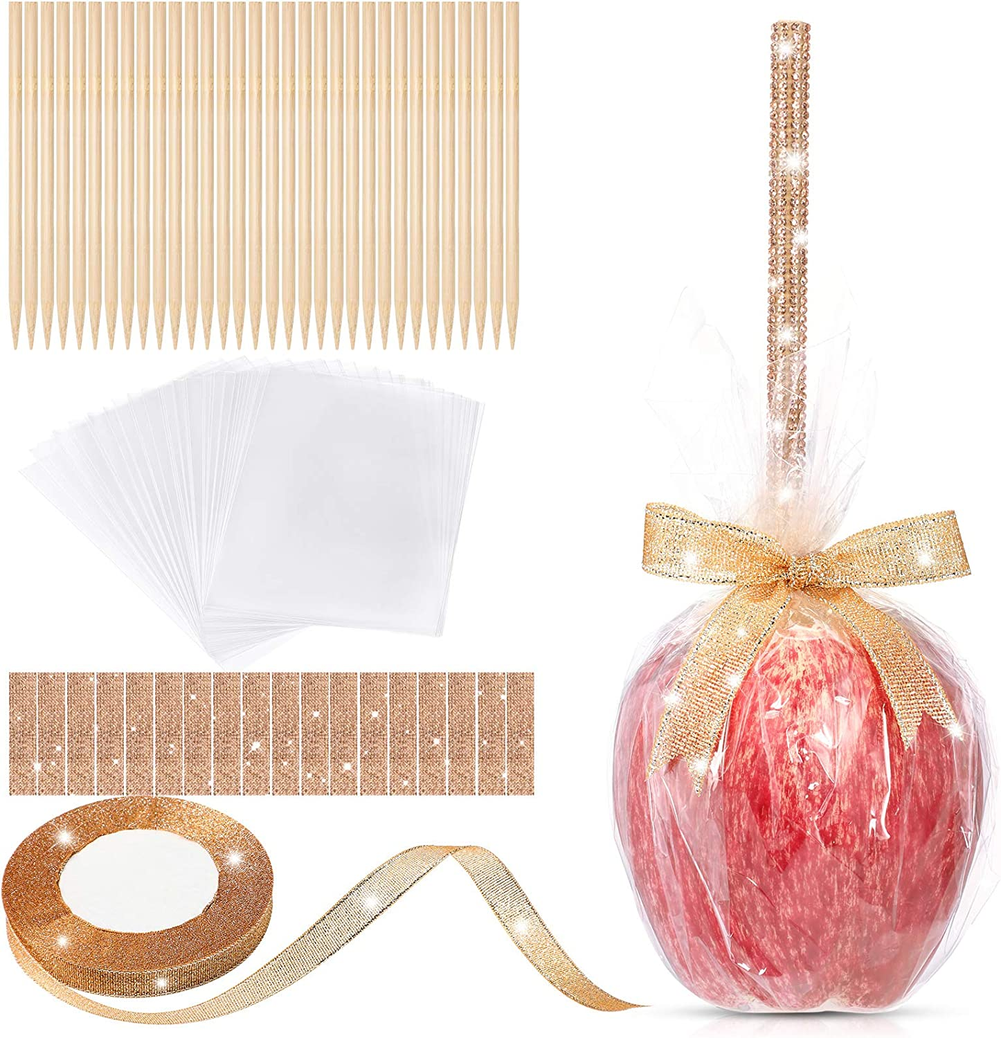 36 Pieces Bamboo Candy Sticks 5 Inch, 36 Bling Rhinestone Decoration Sticker, 36 Candy Glass Paper, 1 Roll 25 Yard Glitter Ribbon, 109 Pieces Candy Making Accessory for Candy Making (Champaign Gold)
