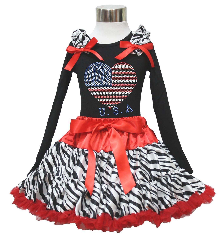 4th July Rhinestone USA Heart Black L/s Top Red Zebra Skirt Girl Set 1-8y