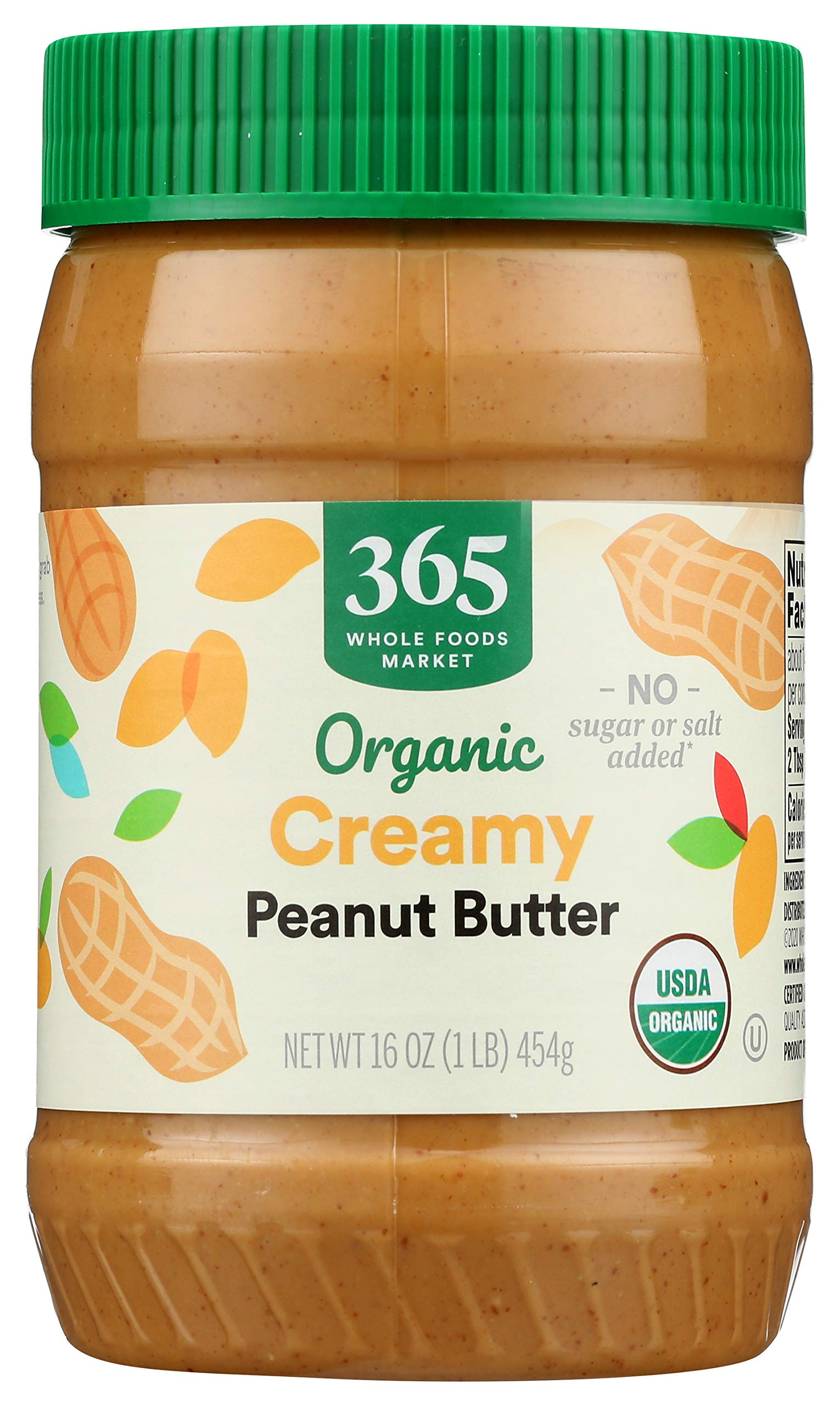 365 by Whole Foods Market, Organic Peanut Butter, Creamy - No Sugar or Salt Added, 16 Ounce
