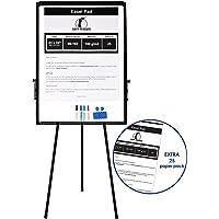 Chevalet de Conférence / Flipchart Set – Tableau Blanc Effaçable sur Trépied de 100 x 70 cm + 1 Brosse Magnétique, 4 Marqueurs de Couleur, 2 Aimants et 25 Feuilles de Papier de 58 x 81 cm