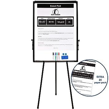 Rotafolios/ Flipchart Set - Pizarra Blanca Magnética con Caballete de Trípode 100x70 cm + 1 Borrador, 4 Rotuladores, 2 Imanes y 1 Paquete de Papel de ...