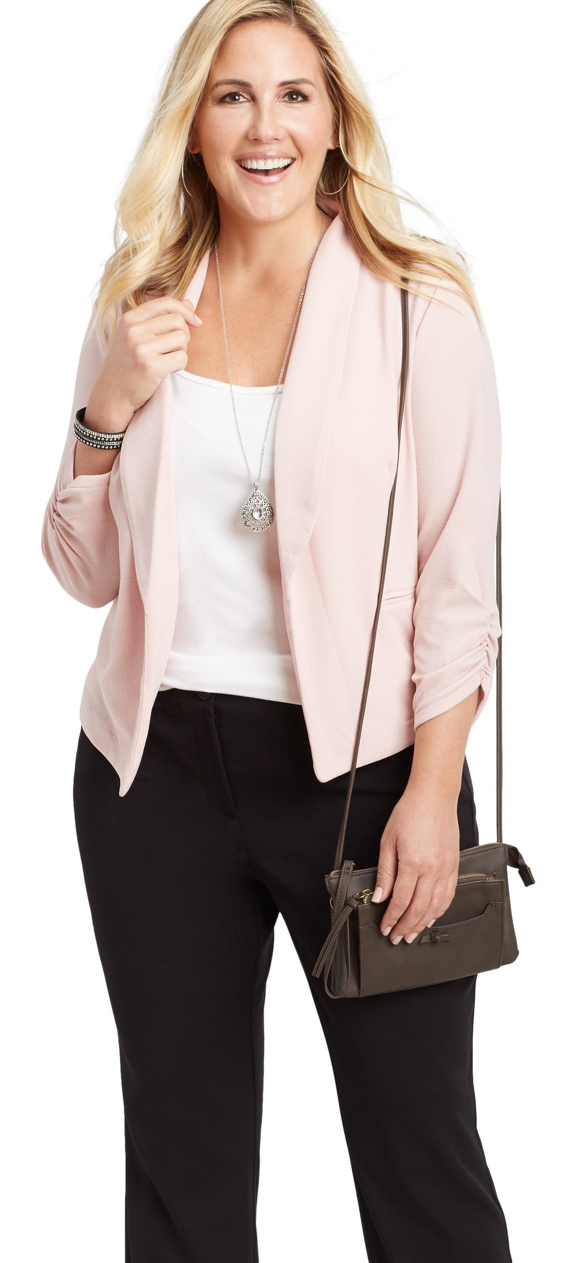 maurices Women's Plus Size Solid Open Front Blazer 2 Pink Ice