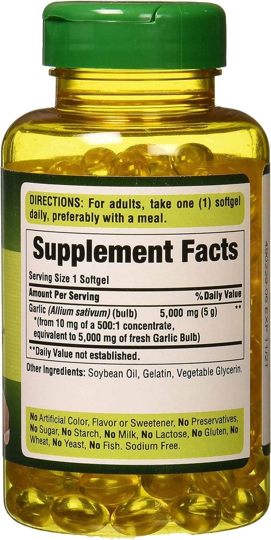 Puritans Pride Garlic Oil, 5000 Mg, 250 Count: Health & Personal Care