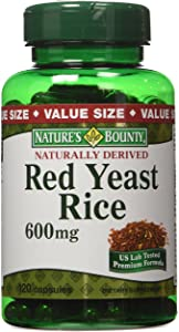 Nature's Bounty Red Yeast Rice 600mg, 120 Capsules (Pack of 2)