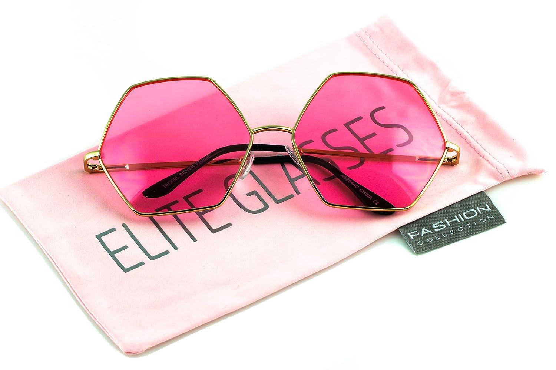 Elite Womens XXL Oversized Sunglasses Hexagon Metal Frame Sunglasses