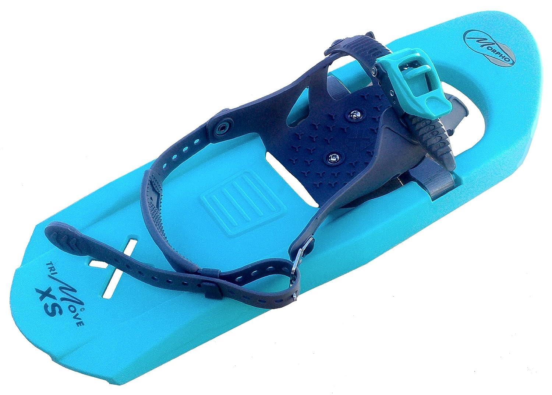 Morpho 14MHRAQ3F XS BTG - Racchette da neve da bambino Trimove con cinturino punta stile snowboard, misura extra small, colore: turchese/grigio