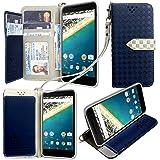 Google LG Nexus 5X ケース 手帳型 カバー 手帳型 【GTO】お洒落な2トーンカラー オリジナルハンドストラップ&ネックストラップ付 3点セット PUレザー&高品質アンチグレアTPUケースを使用した手帳型PUレザーケース ネイビー