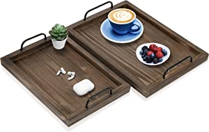 Comfort Theory Wooden Serving Tray with Handles (Set of 2) | Decorative Serving Trays for Ottomans & Coffee Table | Lightweight Portable Farmhouse Rustic Trays for Breakfast in Bed (Chocolate Brown)