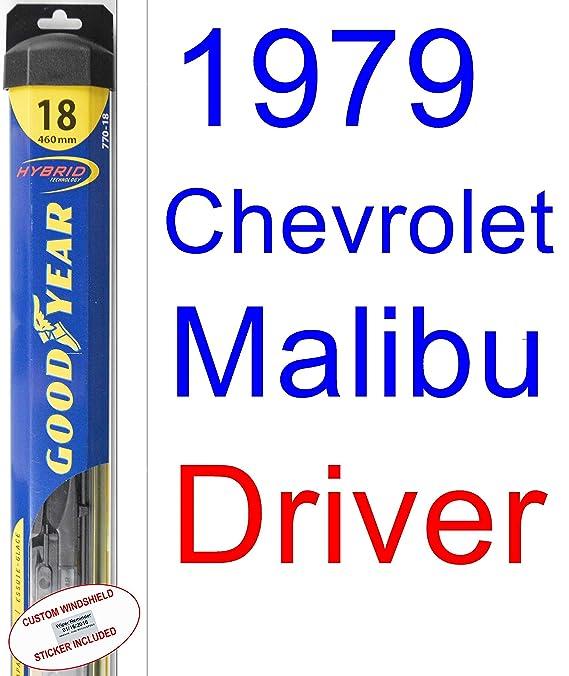 1979 Chevrolet Malibu Policía Hoja de Limpiaparabrisas de repuesto Set/Kit (Goodyear limpiaparabrisas blades-hybrid): Amazon.es: Coche y moto
