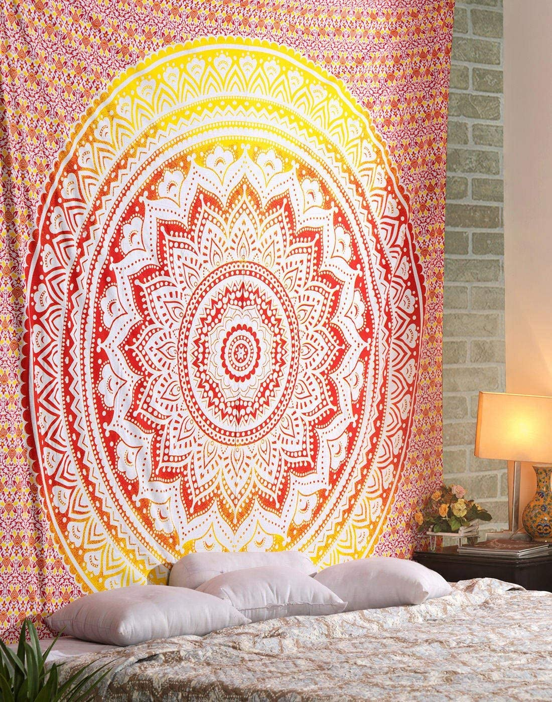 Marubhumi Psychedelic Mandala Tapestry Wall Hanging, Beach Throw Hippie Tapestries Picnic Sheet Wall Decor Wall Art Bedroom Decor, Orange and Yellow, Poster (76 x 101 Cms / 30 x 40 Inches)