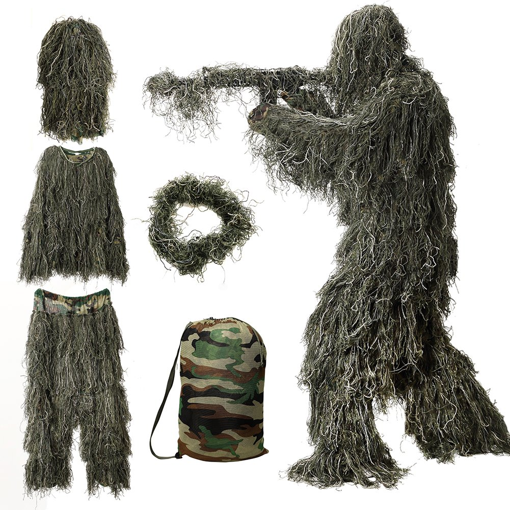 MOPHOTO 5 in 1 Ghillie Suit, 3D Camouflage Hunting Apparel Including  Jacket, Pants, Hood, Rifle Wrap, Carry Bag Suitable for Unisex Adults/Kids/Youth  ...
