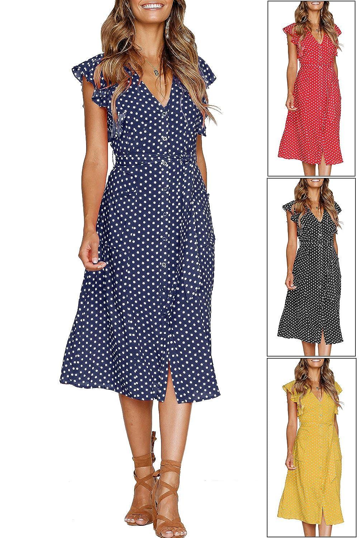 d5ff9f5b98e MITILLY Women s Summer Boho Polka Dot Sleeveless V Neck Swing Midi Dress  with Pockets at Amazon Women s Clothing store
