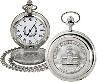 product image for Coin Pocket Watch with Quartz Movement | JFK Bicentennial Half Dollar | Genuine U.S. Coin | Sweeping Second Hand, Roman Numerals | Silvertone Case | Certificate of Authenticity