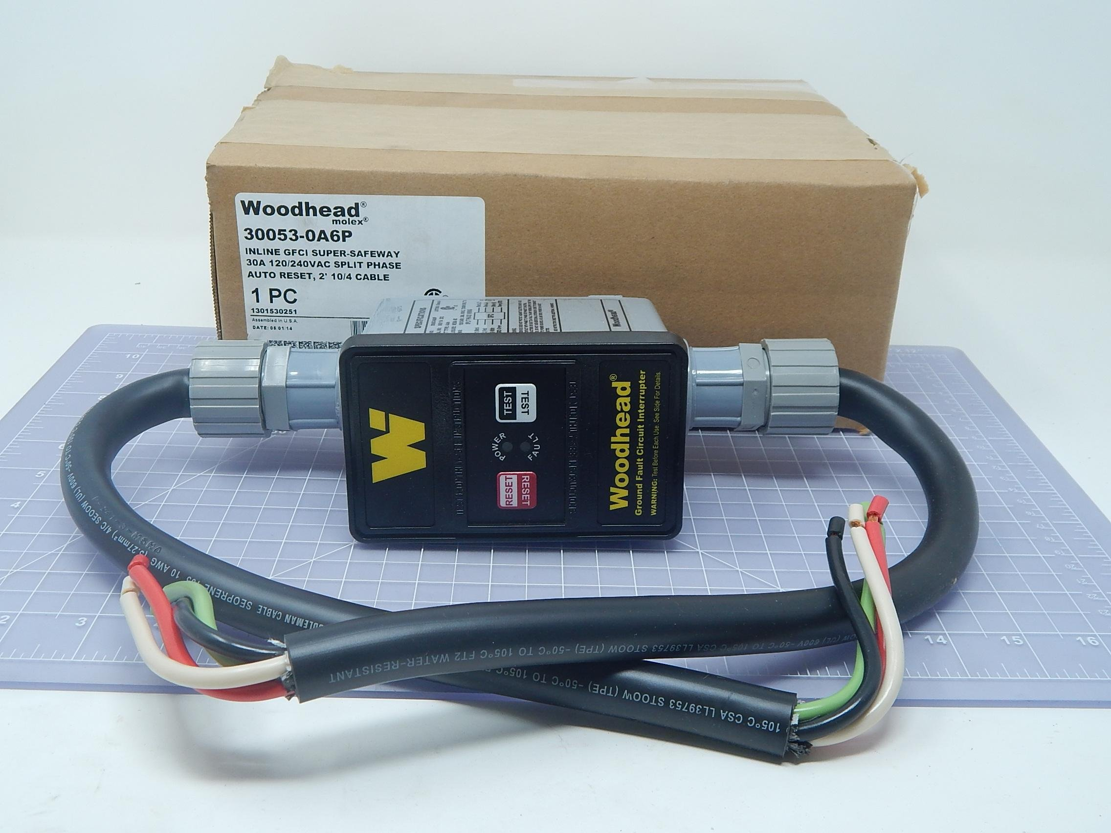 Woodhead 30053-0A6P Ground Fault Circuit Interrupter super-Safeway In-Line Industrial GFCI T107630