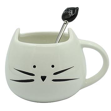 Moonpop - Juego de taza de gato para café y cuchara de gato, 300