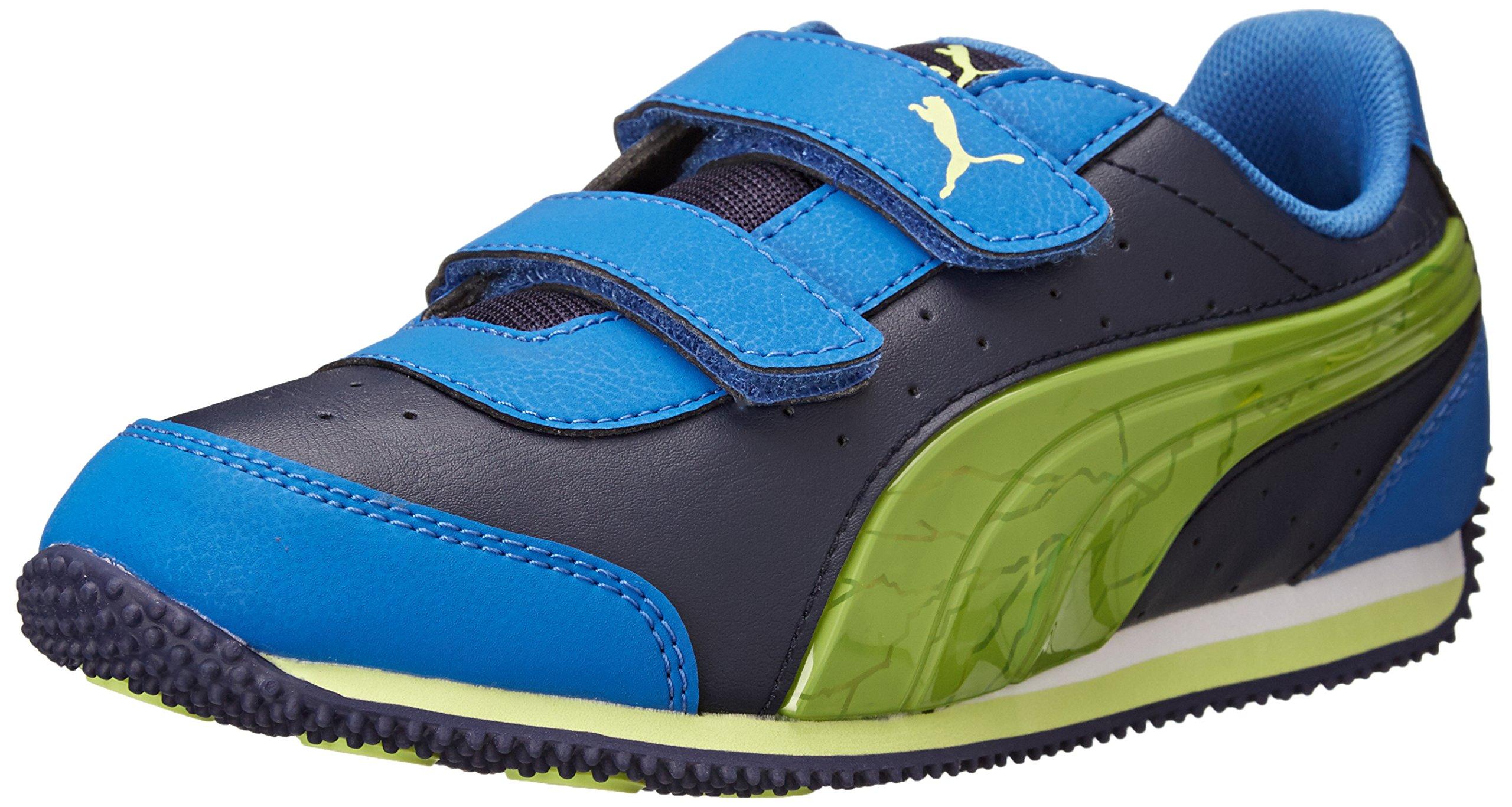 PUMA Speed Light-Up V Kids Sneaker, Peacoat/Strong Blue/Sharp Green, 4 M US Toddler