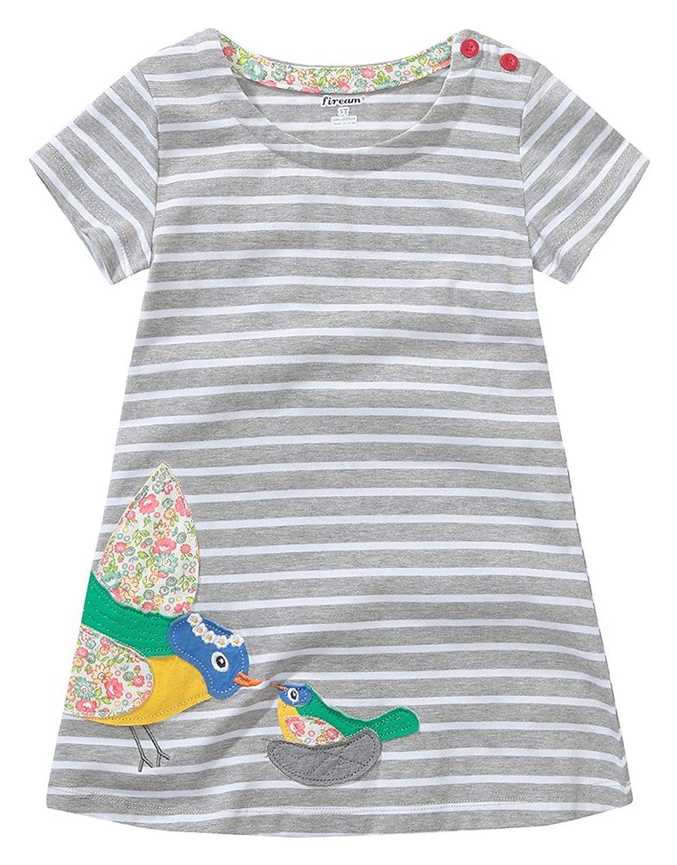 Fiream Girls Summer Applique Cotton Short Sleeves Casual Striped Dresses(152bird,3T/3-4YRS)