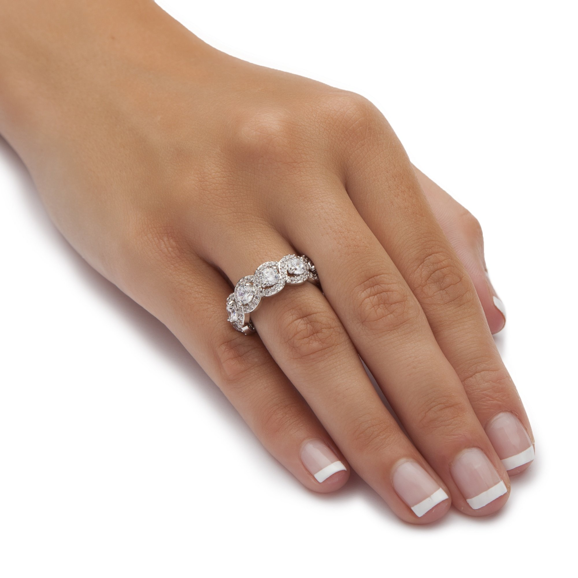 Round White Cubic Zirconia Platinum over .925 Sterling Silver Halo Crossover Eternity Ring by Seta Jewelry (Image #3)