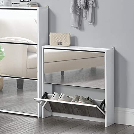 en.casa] Zapatero con Espejo 67 x 63 x 17cm con 2 Compartimentos de Almacenamiento Mueble Zapatero Organizador de Zapatos Blanco: Amazon.es: Hogar