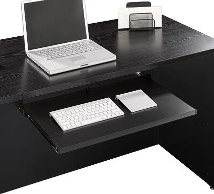 Sauder Via Collection - Estantería para teclado, acabado negro suave