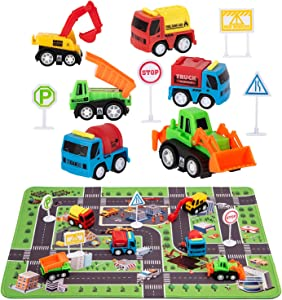 "Construction Toys with Play Mat, Engineering Vehicles Set Include 6 Construction Trucks, 4 Road Signs, 14"" x 18"" Playmat, Pull Back Car Toys, Toys for 2 3 4 5 Year Old Boys Toddle Kid"