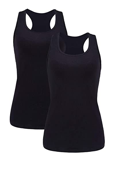 0ceba1dc2b ATTRACO Women s Yoga Tops Racerback Sport Running Singlet Activewear Black S
