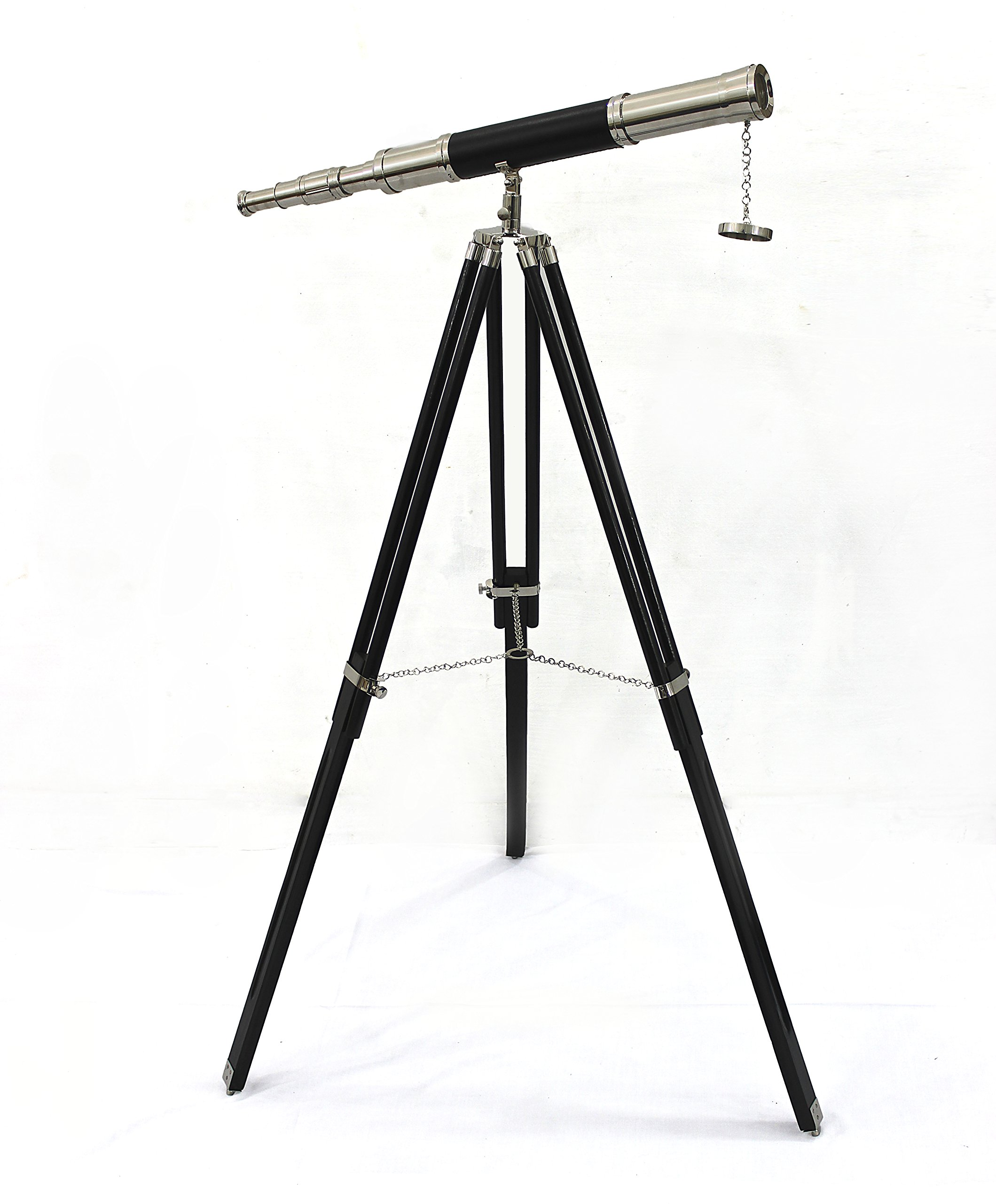 CollectiblesBuy Vintage Floor Standing Brass & Leather Wrapped Telescope Wooden Tripod Stand Nickel Finish