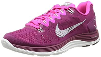 san francisco 5f74b 04e3b Nike Womens Lunarglide+ 5 Raspberry Red Smmt Wht Pink Foil Running Shoe 7.5  US