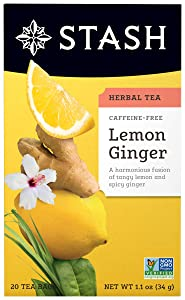 Stash Tea Lemon Ginger Herbal Tea, Premium Herbal Tisane, Citrus-y Warming Herbal Tea, Enjoy Hot or Iced, 20 Count