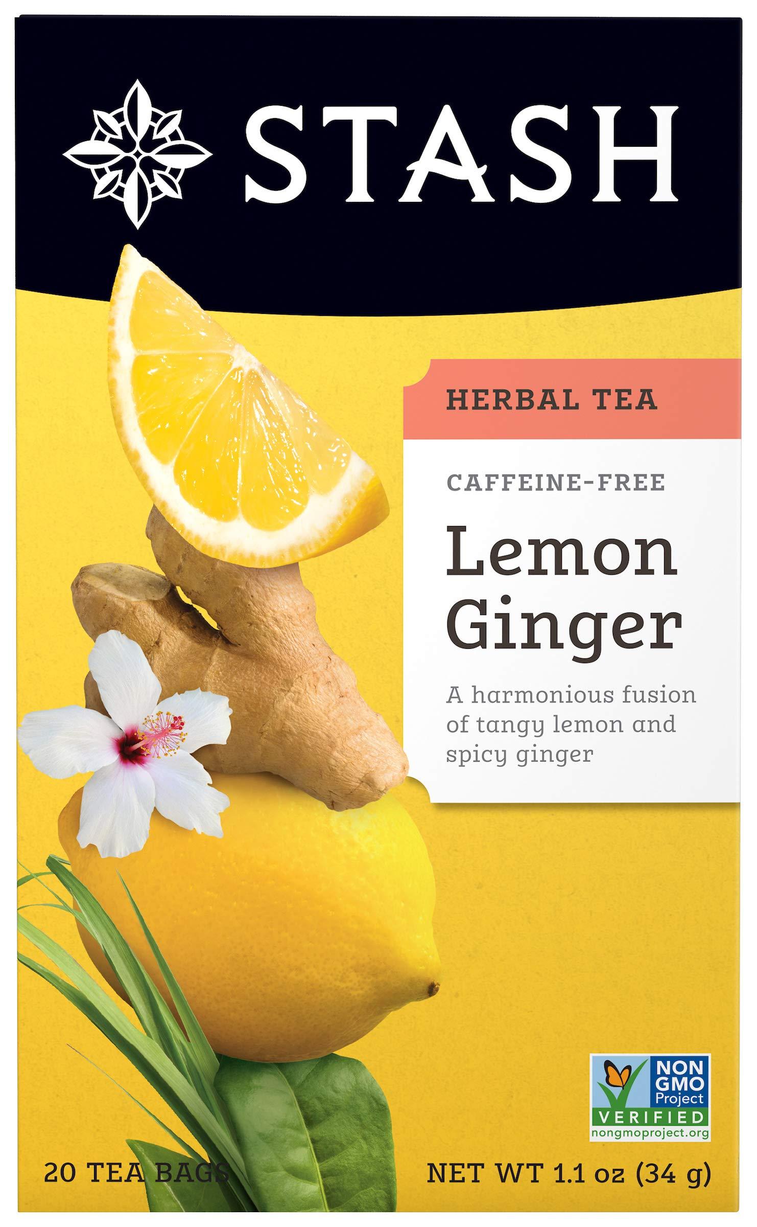 Stash Tea Lemon Ginger Herbal Tea, 20 Tea Bags Per Box, Premium Herbal Tisane, Citrus-y Warming Herbal Tea, Enjoy Hot or Iced