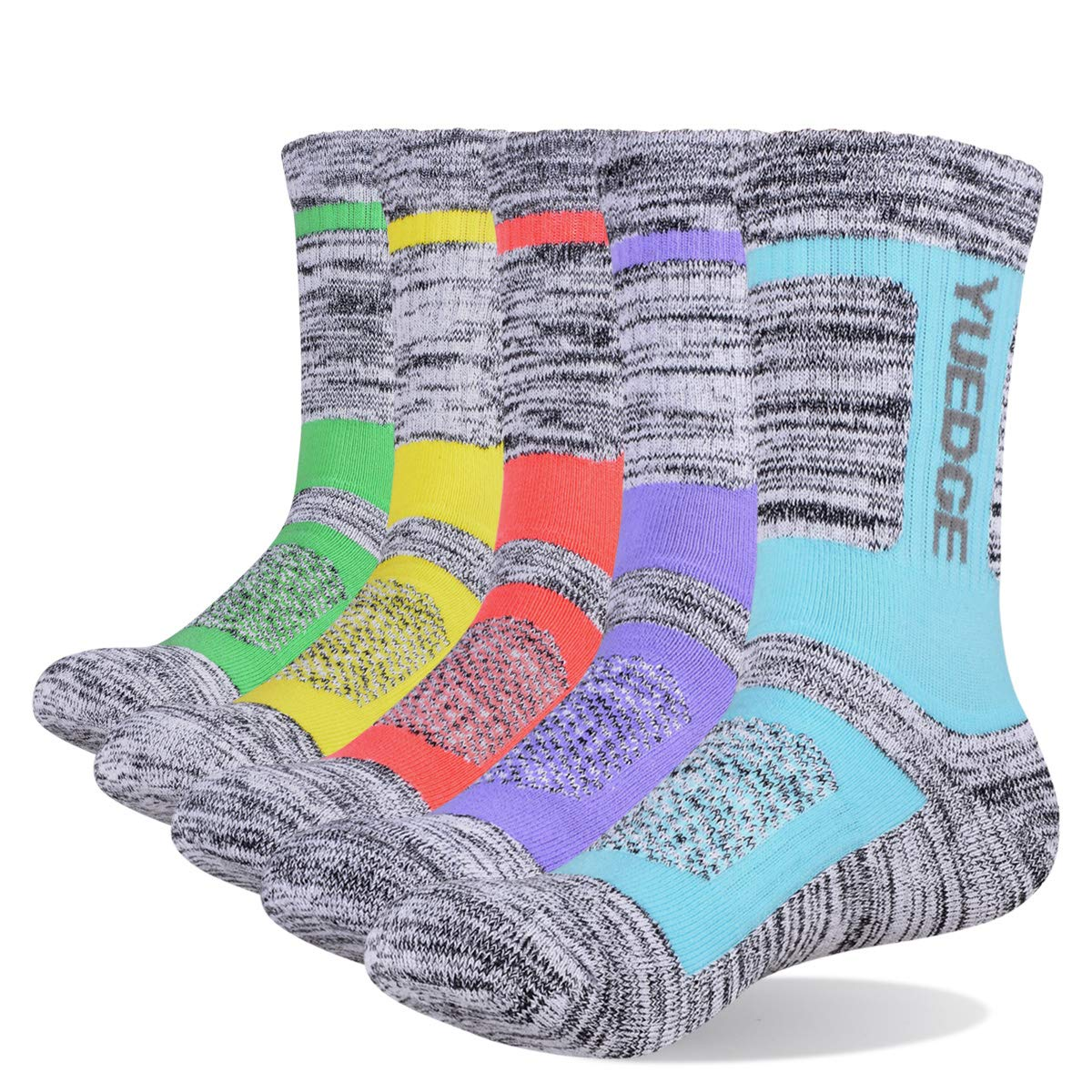 YUEDGE 5 Pairs Women's Cotton Cushion Performance Crew Sports Athletic Hiking Socks by YUEDGE
