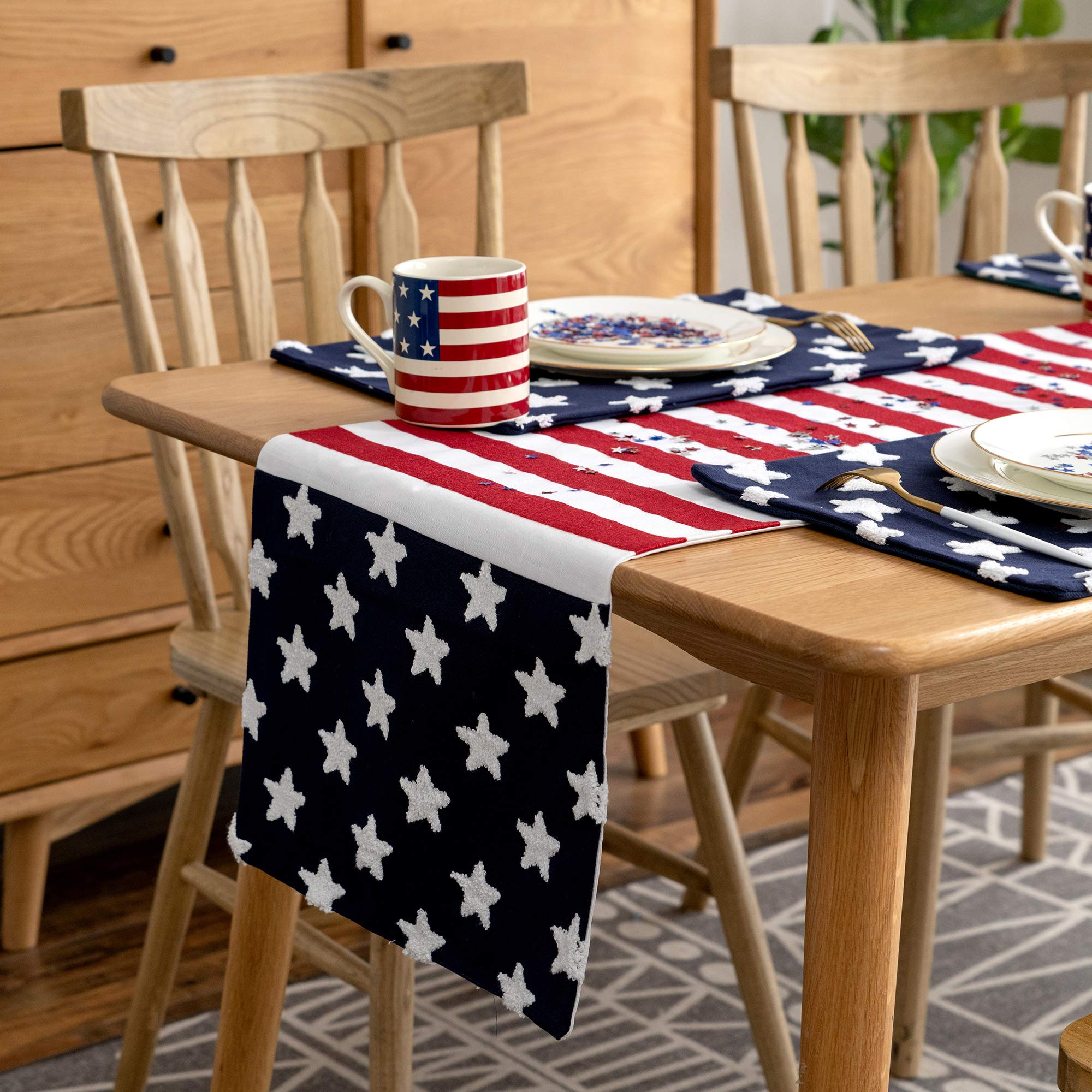 Cassiel Home 4th of July Independence Day Table Runner 14x72| Patriotic Decorations Embroidery American Stars and Stripes| Memorial Day Flag Day Patriotic Day Veterans Day