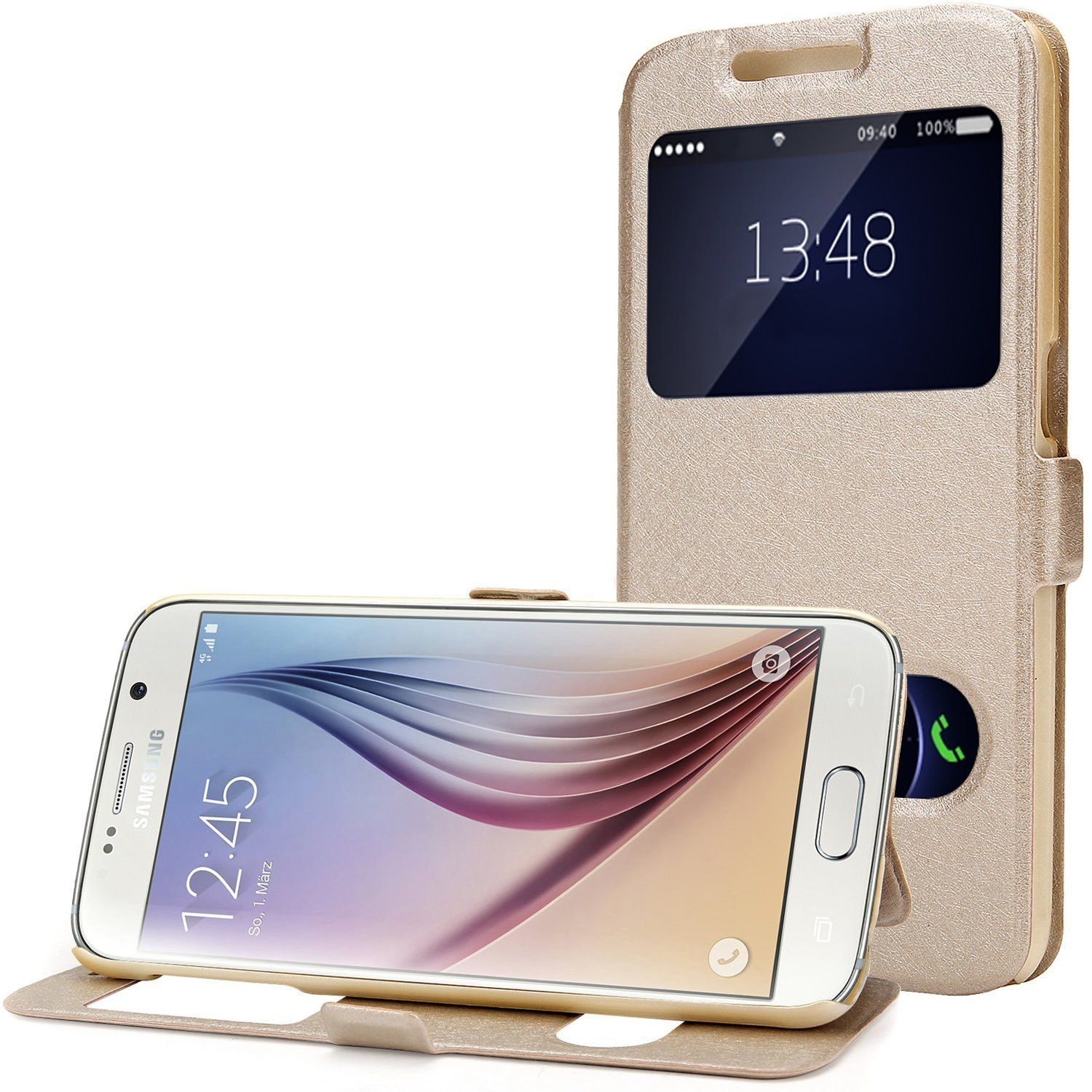 Galaxy S6 Case, EnGive Premium Slim Flip Imitation Leather Cover for Samsung Galaxy S6 G920 (Gold)
