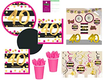 40th Birthday Decorations And Party Supplies In Pink Gold Black Foil For 24 Guests Includes Plates