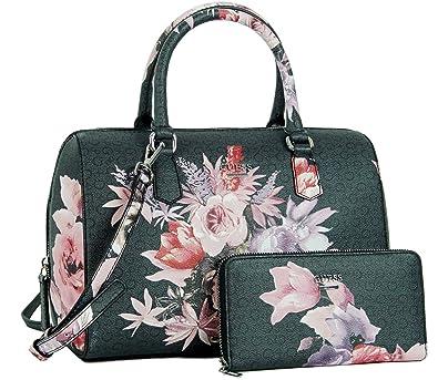 2e3961d218 Amazon.com  Guess Ashvil Rose Floral Satchel Bag Handbag Purse ...