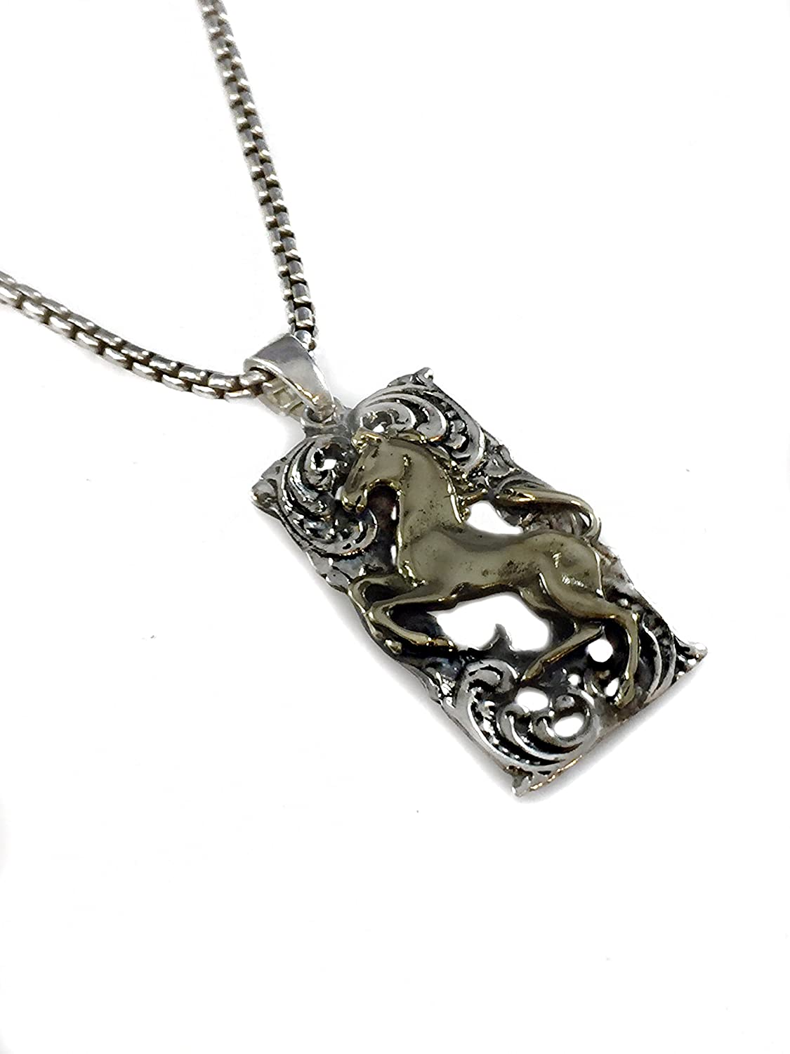 SILVERLAND1 Vintage Mustang Horse Pendant Brass /& Sterling Silver 925 Handmade By Ezi Zino