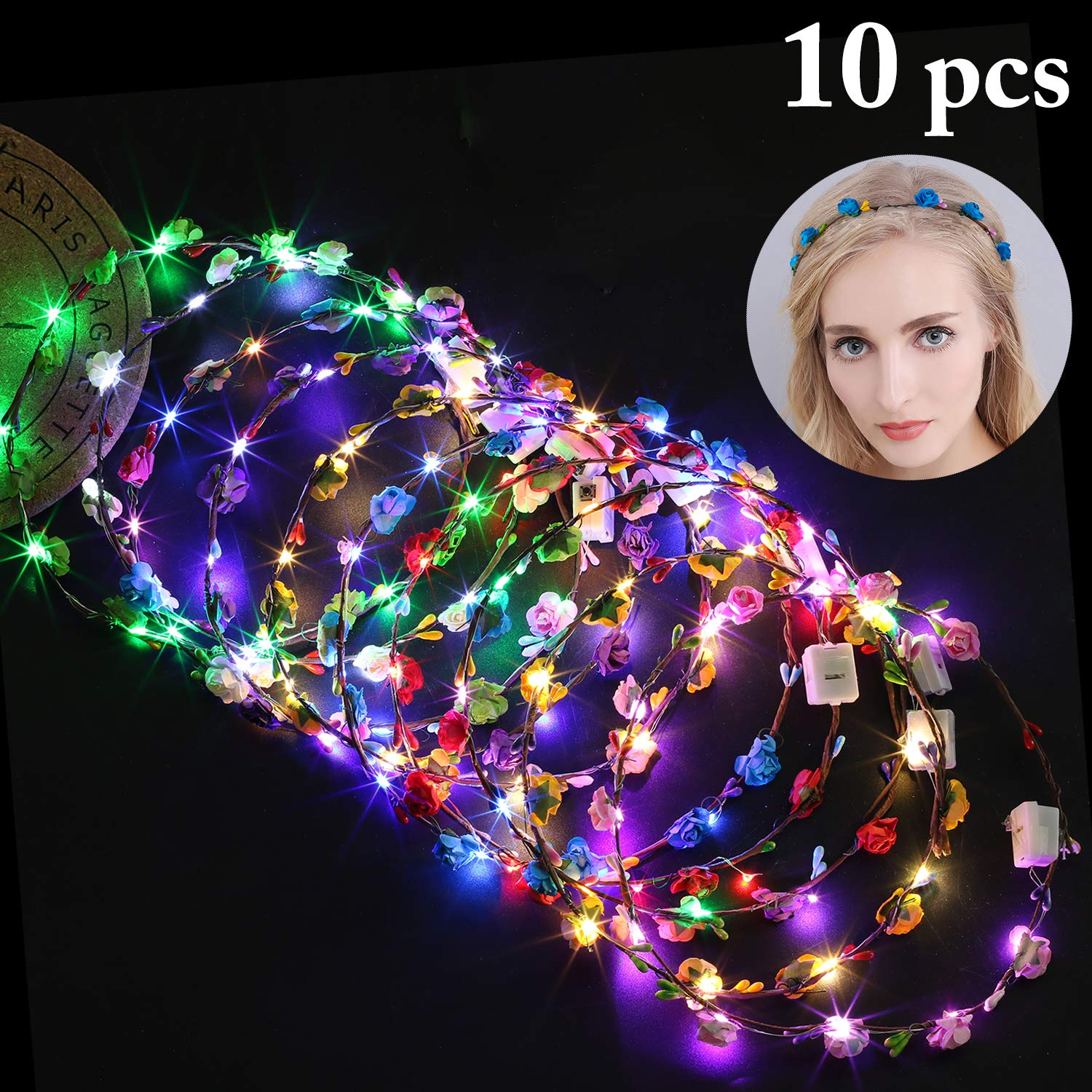 Fansport LED Flower Wreath Headband