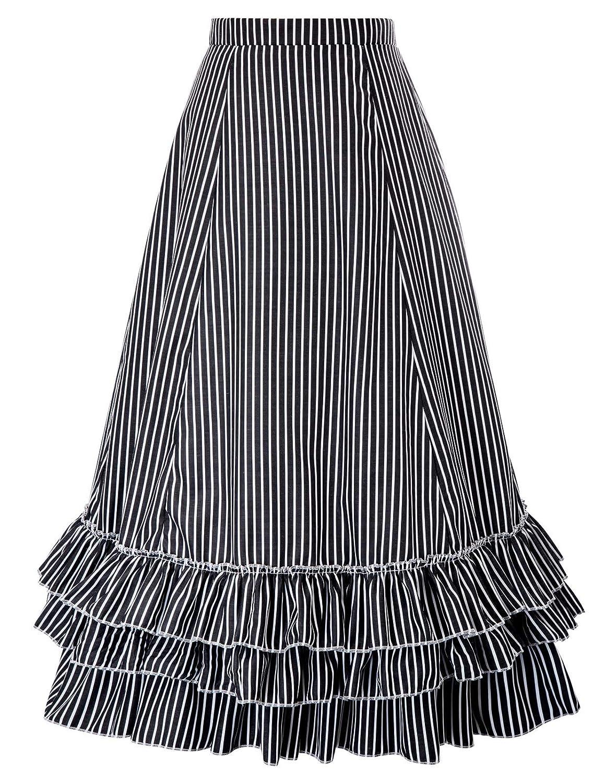 Belle Poque Women Steampunk Gothic Skirt Victorian Ruffled Renaissance Costume