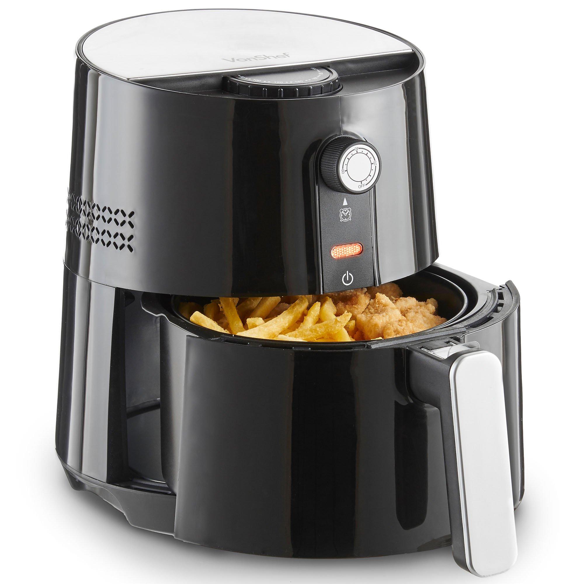 VonShef 3 Quart Electric Hot Air Fryer, Oil Free Healthier Alternative to Deep Frying, Adjustable Temperature Control, 1400W, Black Deep Fryer