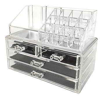 4512b1515ade Sodynee Jewelry and Cosmetic Storage 2 Piece Acrylic Makeup Organizer